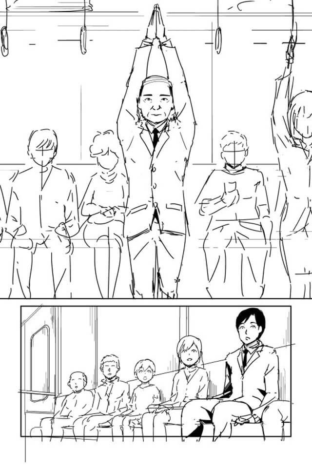 【痴漢冤罪対策・漫画】両手を高く上げる02